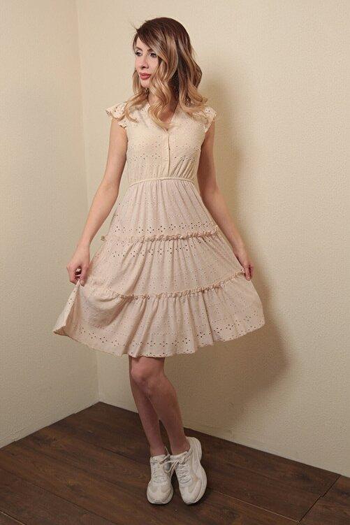 Reyon Kadın Astarlı Sıfır Kol Mini Elbise Bej 1