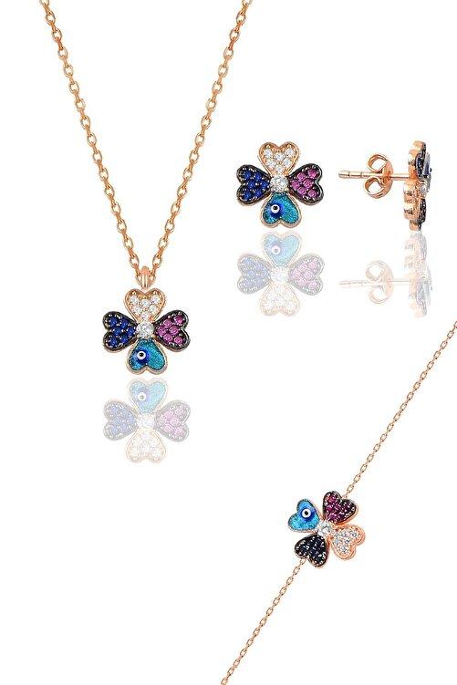 Söğütlü Silver Gümüş rose mineli yonca modeli üçlü set 1