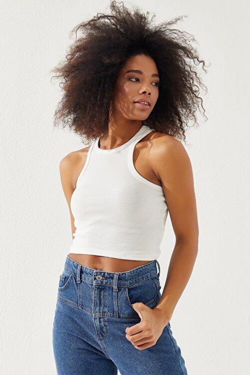 Reyon Kadın Kalın Askılı Crop Bluz 1