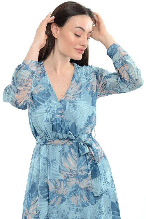 Reyon Kadın Mavi Kruvaze Yaka Desenli Şifon Uzun Elbise  20765005XXX 1