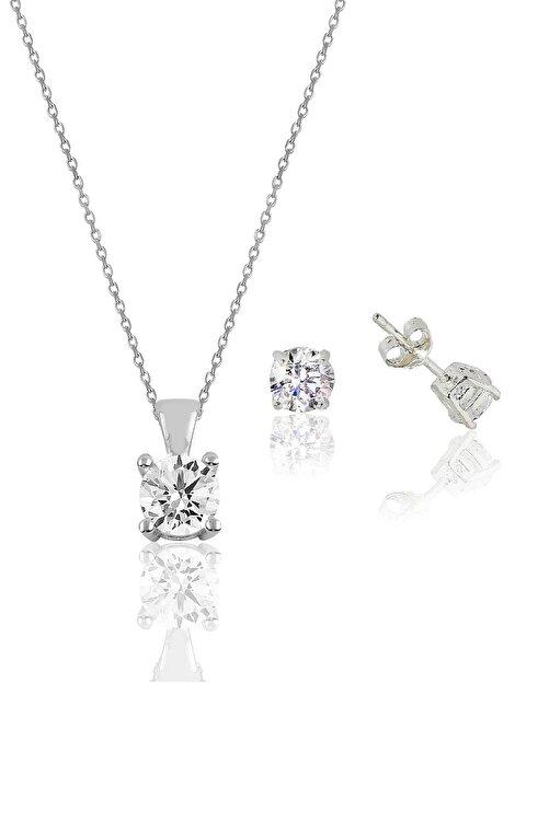Söğütlü Silver Gümüş rodyumlu tek taş kolye ve küpe gümüş set 1