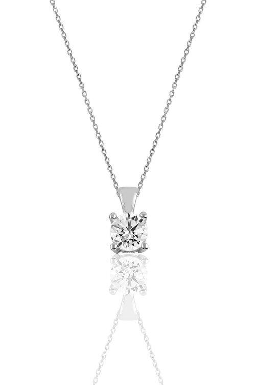 Söğütlü Silver Gümüş rodyumlu tek taş kolye ve küpe gümüş set 2