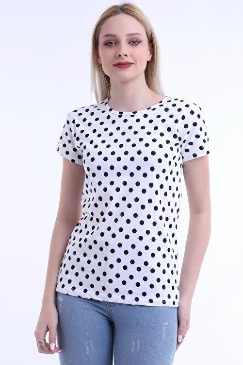 Moda Hitap Kadın Beyaz Renk Siyah Puantiyeli Kısa Kol T-shirt 1