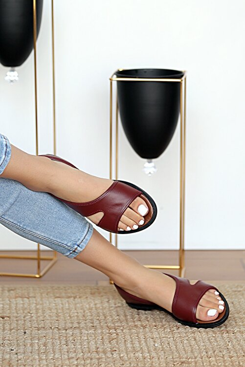 Pembe Potin Kadın Bordo Sandalet 2