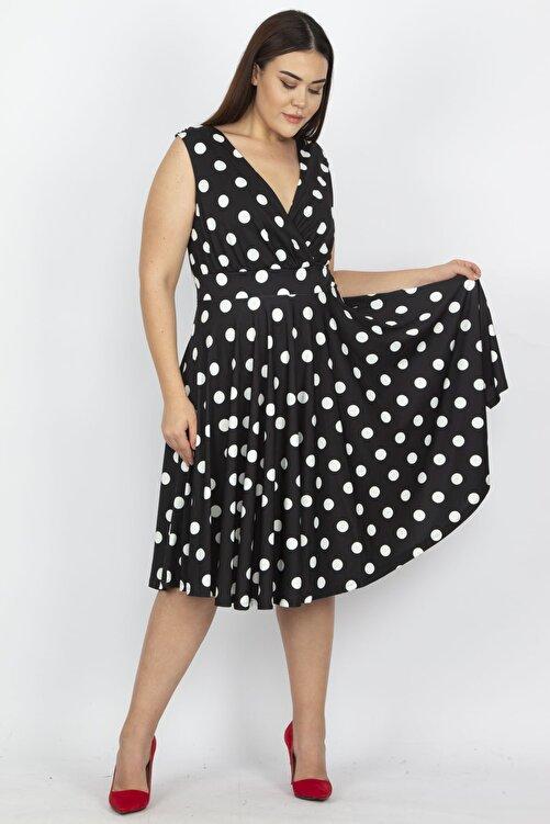 Şans Kadın Siyah Puan Desenli Anvelop Arka Bel Lastik Detaylı Elbise 65N19620 2