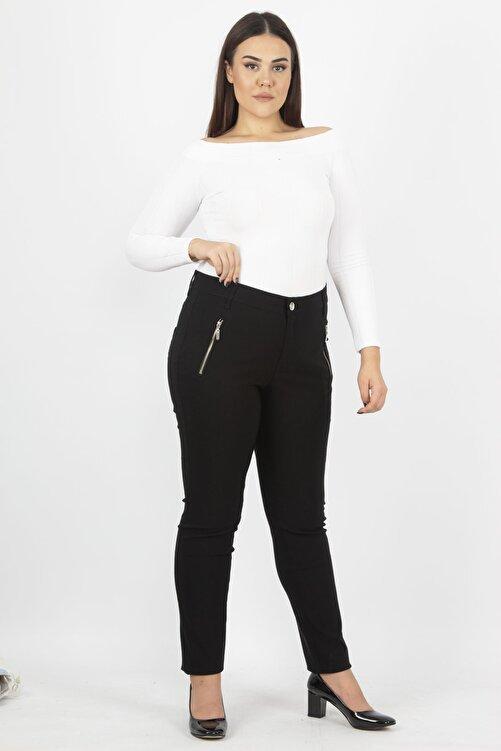 Şans Kadın Siyah Fermuar Detaylı Pantolon 65N20932 1