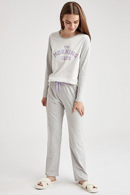 DeFacto Yazı Baskılı Uzun Kollu Pijama Takımı 2
