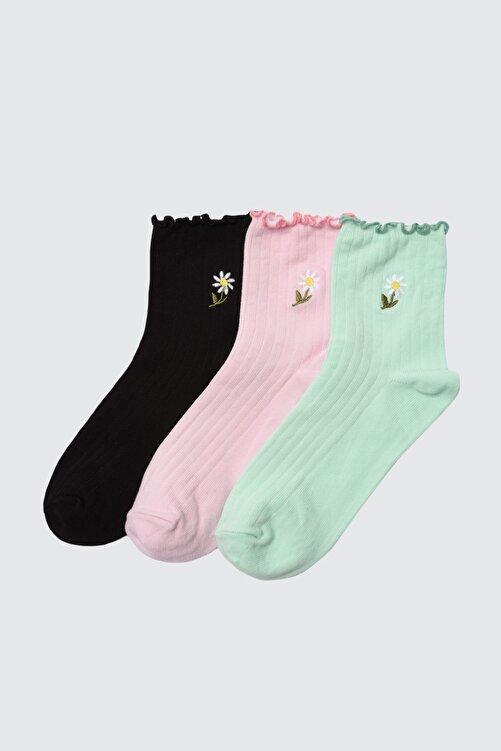 TRENDYOLMİLLA 3'lü Çok Renkli Örme Çorap TWOAW21CO0097 1