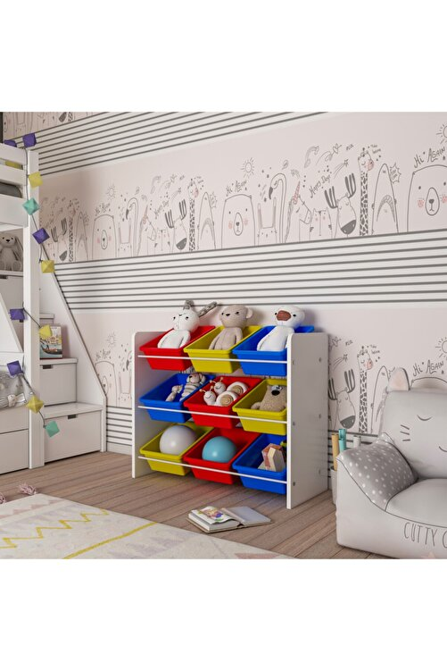 MORDEKA Renkli Montessori Oyuncak Dolabı 9 Sepetli 2