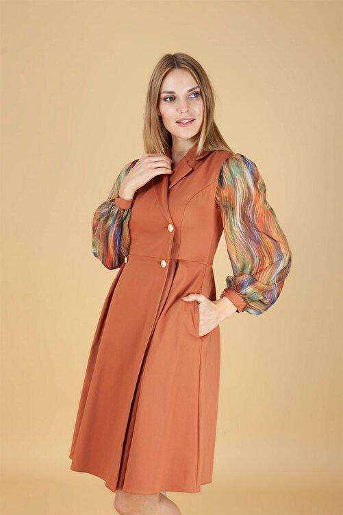 NOMENS Kadın Turuncu Düğme Detay Kısa Elbise 1