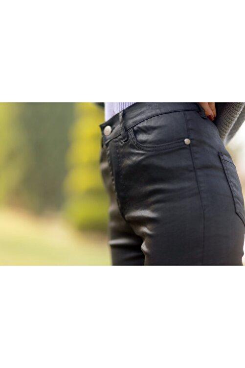 Unique Kadın Siyah Deri Görünümlü Pantolon 2