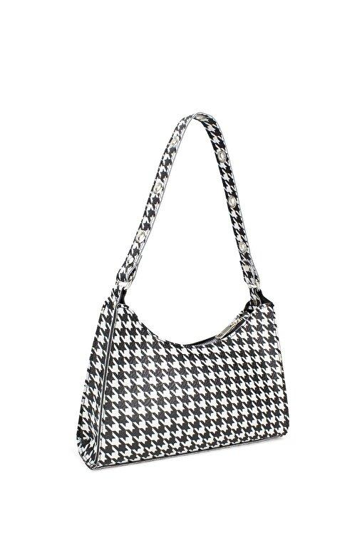 Housebags Kadın Kaz Ayağı Desenli Baguette Çanta195 2