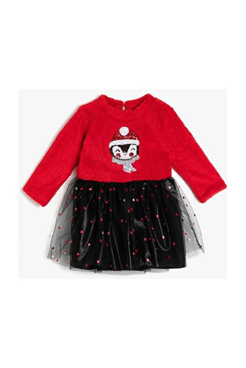 Koton Kız Bebek Kırmızı Polar Tüllü Payetli Uzun Kollu Prenses Elbise 1