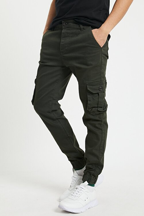 Serseri Jeans Erkek Körüklü Haki Renk Jogger Paçası Lastikli Pantolon 2