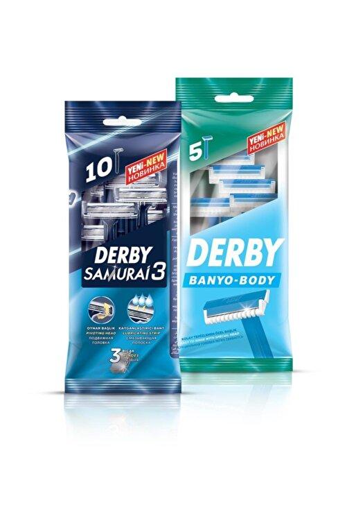 Derby Samurai 3 Bıçaklı 10'lu Poşet + Banyo 5'li Poşet 2