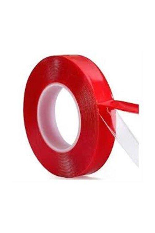 hagiki (1 Adet) Silikonlu Çift Taraflı Montaj Bandı 18mm X 2mt Kırmızı Bant(1 Adet) 1