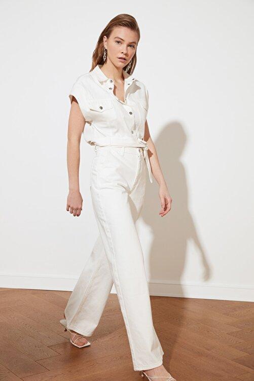 TRENDYOLMİLLA Beyaz Yüksek Bel Wide Leg Jeans TWOSS21JE0567 2