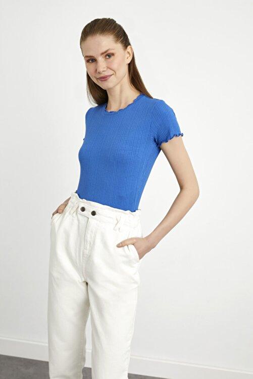 adL Kadın Mavi Kısa Kollu Fırfırlı Örme Bluz 1