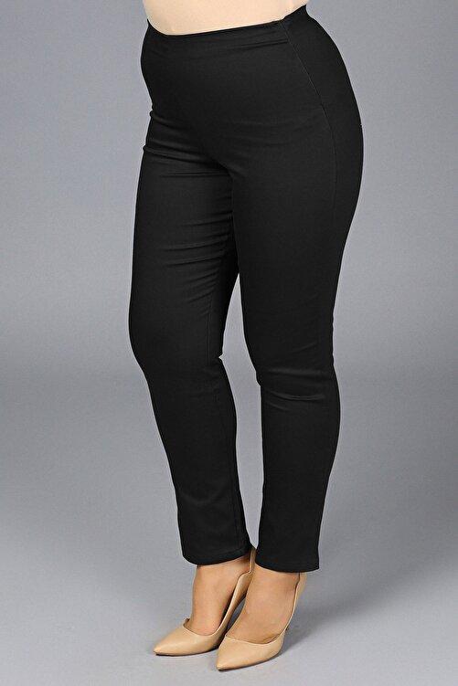 Gül Moda Kadın Siyah Likralı Mom Beli Lastikli Yüksek Bel Pantolon G049-1 1