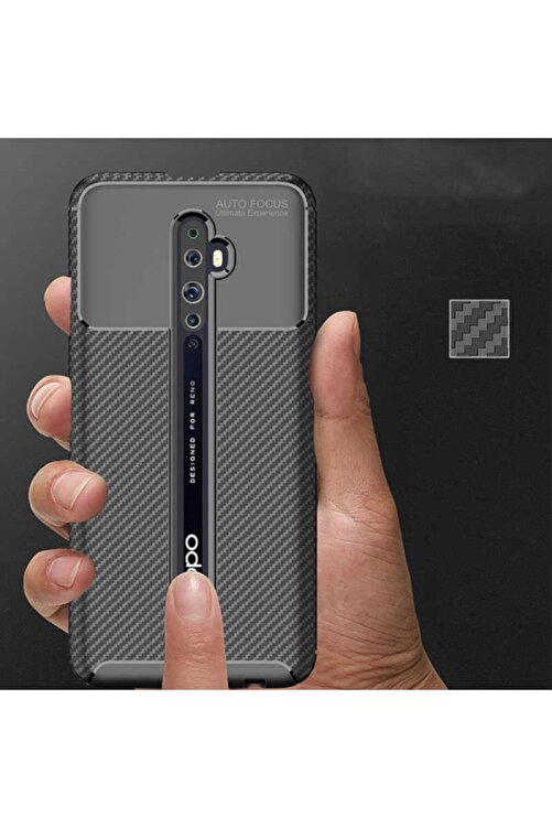 OPPO Reno 2z Kamera Korumalı (carbon Tasarım) Silikon Kılıf Siyah 2