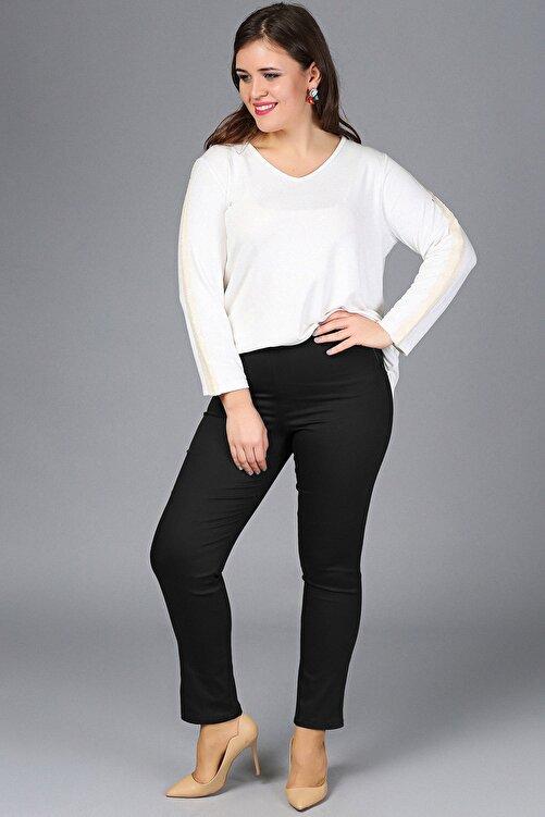 Gül Moda Kadın Siyah Likralı Mom Beli Lastikli Yüksek Bel Pantolon G049-1 2
