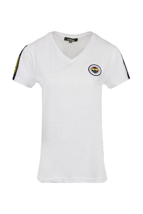 Fenerbahçe Kadın Beyaz Tribün Basıc T-shırt 1