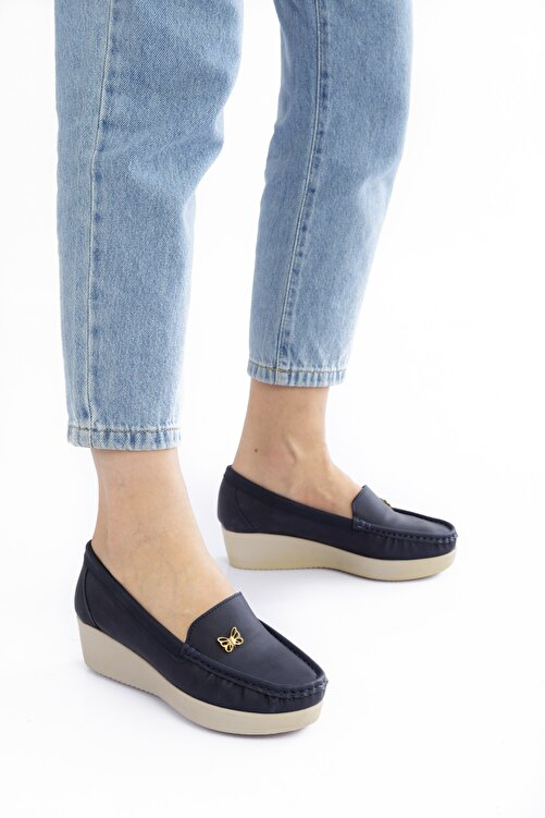 Bak Store Kadın Lacivert Günlük Ortopedik Dolgu Topuklu Loafer Anne Ayakkabısı 1