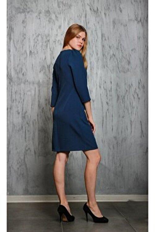 JEANNE DARC Lacivert Truvakar Kol Ceplerinde Zincir Detaylı Elbise Je91791 2