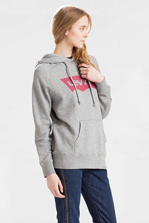 Levi's Sport Graphic Kadın Gri Kapüşonlu Sweatshirt 2