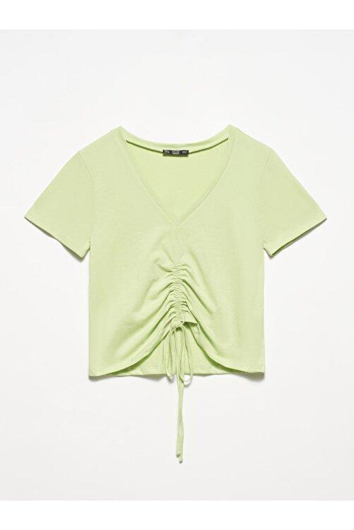 Dilvin 3551 Kadın  Yeşil V Yaka Önü Bağcıklı T-shirt 1