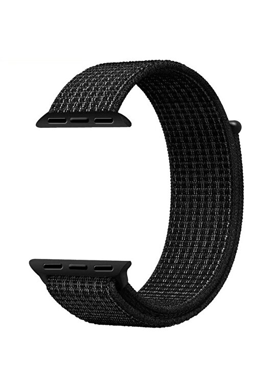 Robotekno Siyah Apple Watch Dokuma Kordon Kayış - 38mm 40mm 1