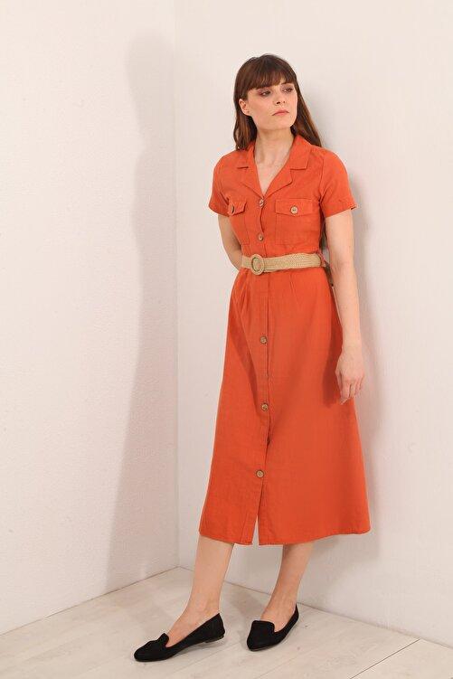Reyon Kadın Kiremit Kemerli Gömlek Yaka Uzun Elbise  19892031D3B 1
