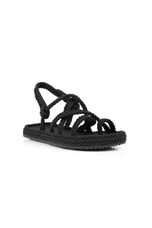 Oblavion Kadın Siyah Hasır Sandalet 2