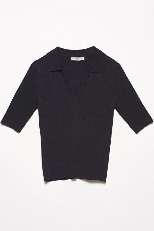 Dilvin Kadın Siyah V Polo Yaka Kısa Kol Kazak 101A02359 1