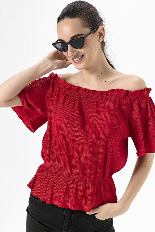 EMJEY Kadın Kırmızı Madonna Yaka Piliseli Bluz She020y010005 1