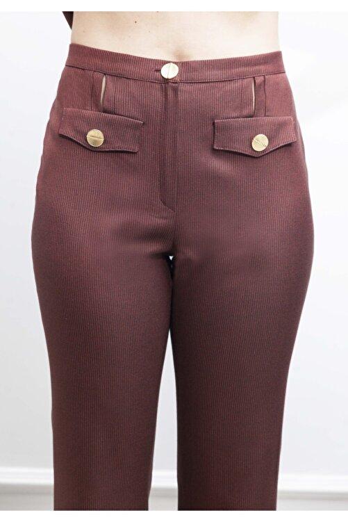 ÖZLEM AHIAKIN Ispanyol Paça Bordo Pantolon 1