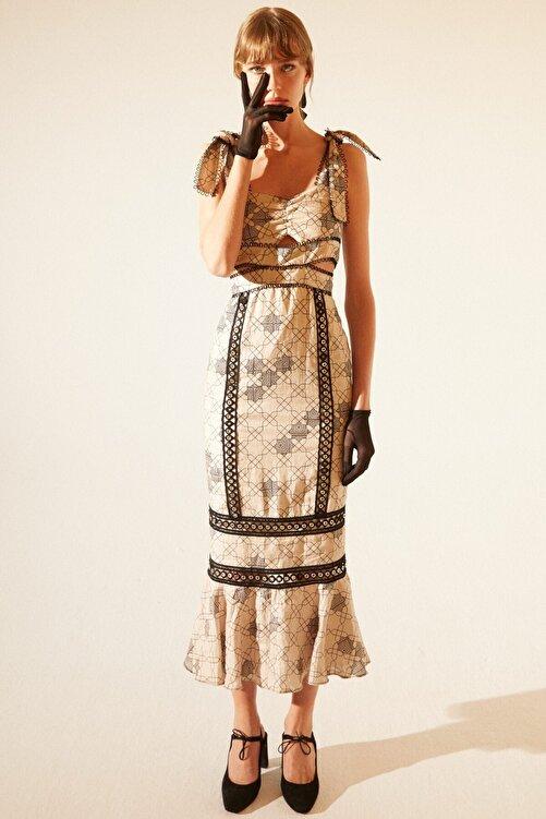 Tuba Ergin Kadın Baskılı Geometrik Desen Keten Anastasia Elbise 1