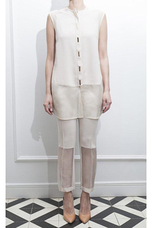 ÖZLEM AHIAKIN Organze Detaylı Bej Rengi Kumaş Pantolon 1