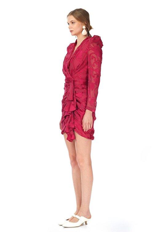 Tuba Ergin Kadın Fuşya Volanlı Kruvaze Ink Elbise 2