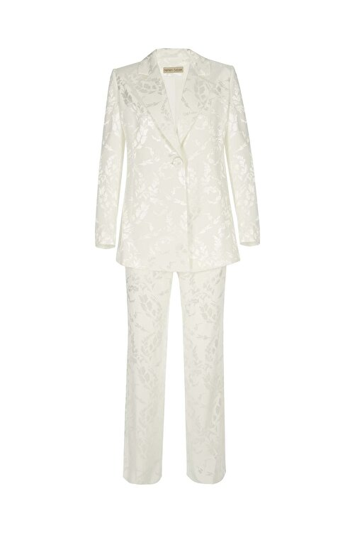 Meltem Özbek Kadın Beyaz Classic Ceket 2