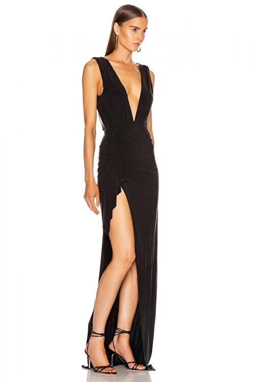 By Umut Design Drapeli Derin Yırtmaçlı Maxi Elbise 2