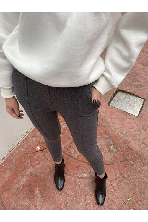 BSL Kadın Gri Beli Lastikli Pantolon 2