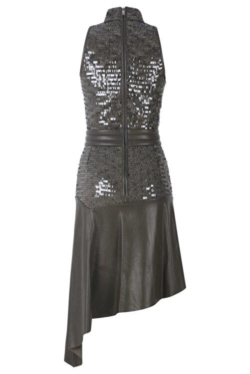 Meltem Özbek Kadın Haki Deri Midi Boy Elbise 2