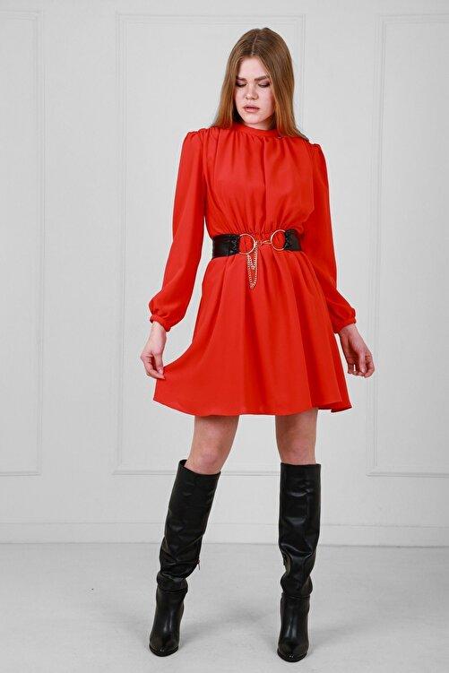 JEANNE DARC Kırmızı Deri Kemerli Uzun Kollu Yakadan Büzgülü Elbise Je92431 2