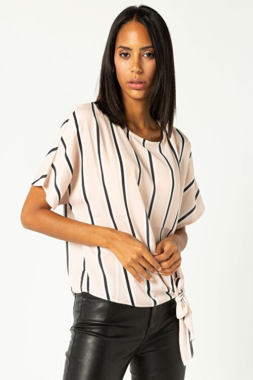 Select Moda Kadın Vizon Çizgili Önden Bağlamalı Bluz 1