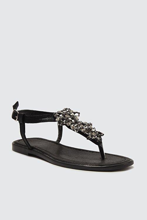 TRENDYOL SHOES Siyah Taşlı Kadın Sandalet TAKSS21SD0005 2