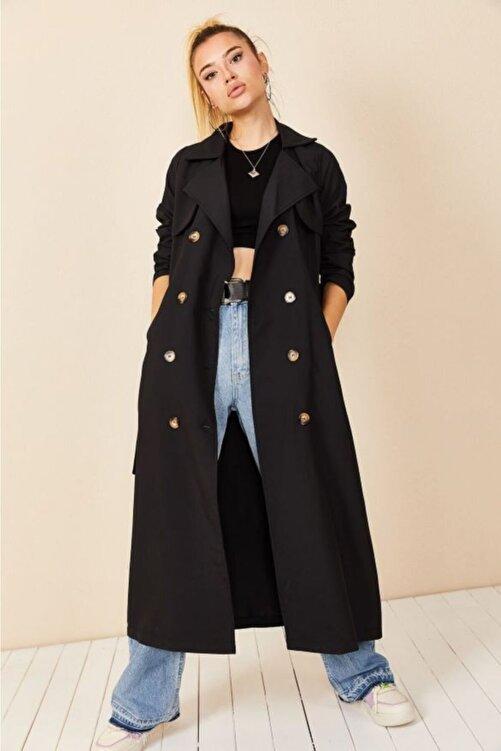VOLT CLOTHİNG Kadın Siyah Şal Yaka Düğmeli Trençkot 2