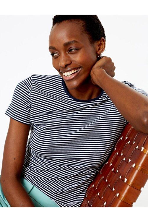 Marks & Spencer Kadın Lacivert Çizgili Fitted T-Shirt T41008762 2