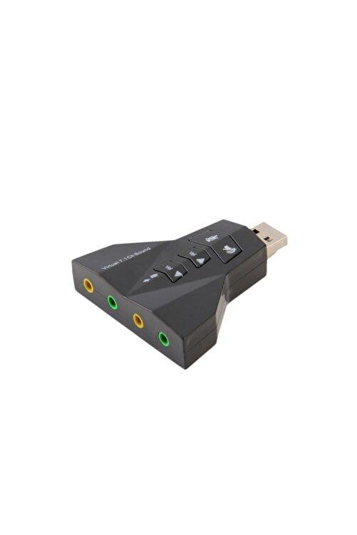 MAXGO 7.1 Usb Ses Kartı 7 Kanal Destekli Kablolu Çift Audıo Çevirici Dönüştürücü Haricı Mikrofonlu 2