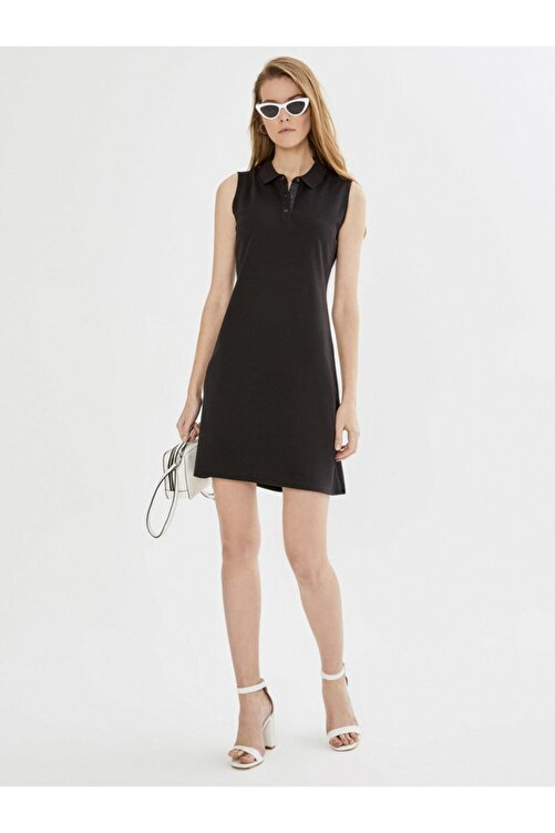 Xint Xınt Polo Yaka Kolsuz Pamuklu Basic Elbise 2